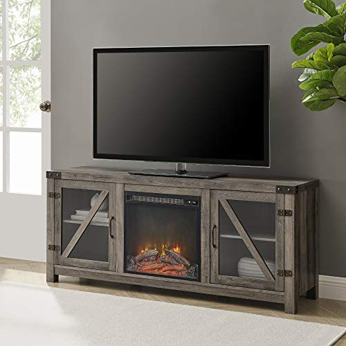 Walker Edison Farmhouse Barn Wood and Glass Fireplace Stand for TV's up to 64