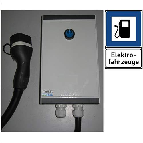 ecoLOAD Wallbox Tipo 2 - Cargador de Coche eléctrico, 22 kW, 5 Metros, Carcasa de Aluminio