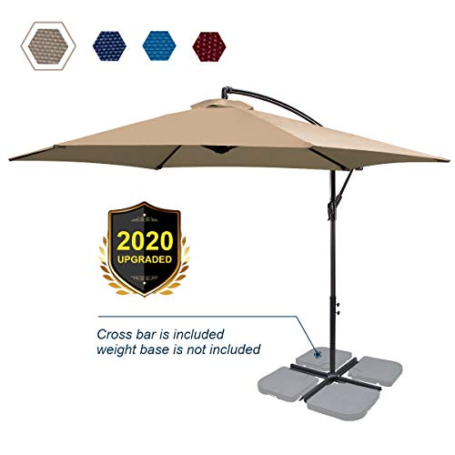 FRUITEAM 10Ft Patio Offset Umbrellas Hanging Garden Umbrellas Large Market Umbrella with Crank & Cross Base, Waterproof UV Protection Outdoor Cantilever Umbrella with Ventilation, Khaki