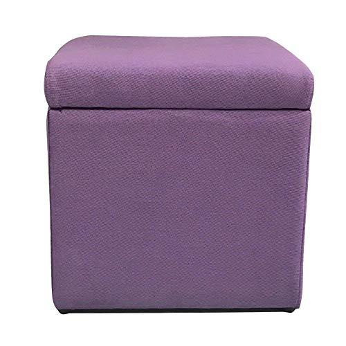 XBCDX Cubo otomano de Almacenamiento, reposapiés tapizado en Tela de Lino Asiento con Tapa Caja de Almacenamiento cómoda Entrada a la Sala de Estar - Morado 13''x13''x13 ''