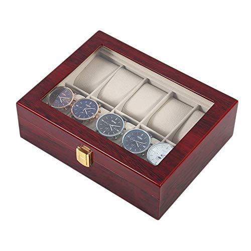 Práctica caja de reloj de madera de 10 rejillas duradera para el hogar, joyería, colección de almacenamiento, caja organizadora de relojes, color rojo