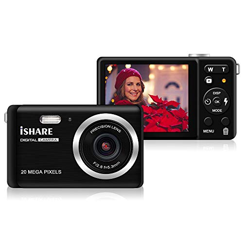 ISHARE Digital Camera for Photography with 2.8''LCD, 20MP HD Photography Camera Rechargeable Point and Shoot Camera for Kids/Teenager/Seniors/Learner/Beginners(Black)
