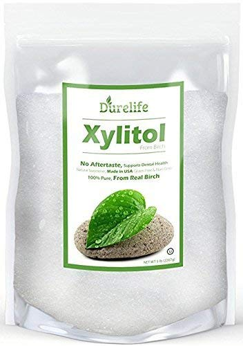 DureLife XYLITOL Sugar Substitute 5 LB Bulk (80 OZ) Made From 100% Pure Birch Xylitol NON GMO - Gluten Free - Kosher, Natural sugar alternative, Packaged In A Resealable zipper lock Stand Up Pouch Bag