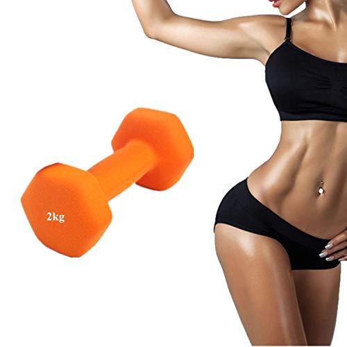 Hantel für Damen, Fitnesshantel, für Mädchen, für Zuhause, Aerobic, Muskeltraining, Kalorienverbrennung, Hantel (2 kg, orange), 1 Stück