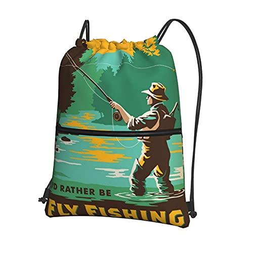 I'D Rather Be - Bolsa de pesca con cordón para gimnasio, mochila deportiva grande, con cordón de natación, bolsas de polietileno para mujeres, hombres, viajes, playa, escuela
