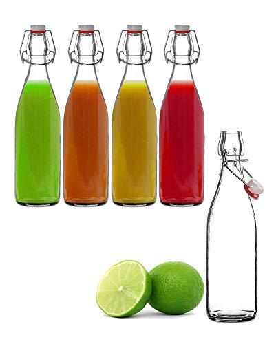 Liyaya - Botella de cristal (500 ml, cierre a clip)