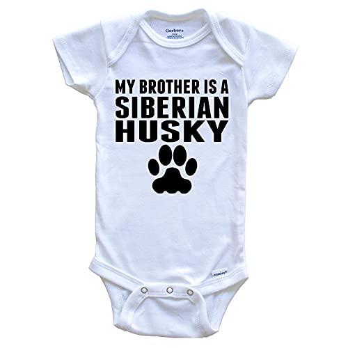 ECNM56B Mi Hermano es un Mameluco para bebé de Husky Siberiano