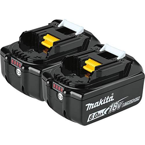 Makita BL1860B-2 18V LXT Lithium-Ion 6.0Ah Battery, 2/pk, Black