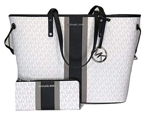 Michael Kors Jet Set Reisetasche mit Kordelzug und Jet Set für LG 3/4 Reisen, MK Bright White / Black Center Stripe