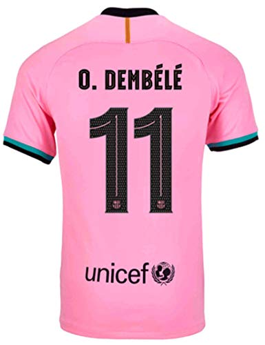 Kids/Youths Sportswear 2020/2021 Season Third Soccer T-Shirts Jersey/Short/Socks (Barcelona O.Dembélé #11(10-11years/size26)) Pink