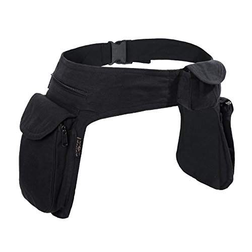 KUNST UND MAGIE Doppel Bauchtasche Sidebag Gürteltasche Festivaltasche Hippie Goa, Farbe:Black/Schwarz