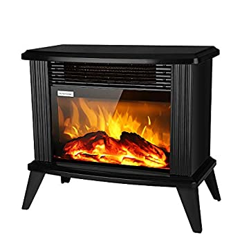 """ROVSUN 13""""H Electric Fireplace Stove w/ Realistic Flame Effect 1500W Portable Freestanding Space Heater w/ 2 Heat Settings & Overheat Protection for Indoor Home Bedroom Living Room Black"""