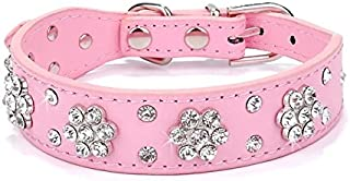Didog - Cute PU Leather Dog Collar - Rhinestone Flower Pattern Studded - 1 Inch Width Fit Small and Medium Dogs