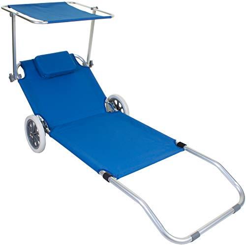 Sun Lounger Wheeled Portable Outdoor Garden Patio Beach Day Bed Deck Chair Shade