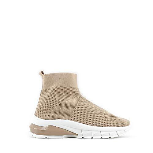 Modelisa - Zapatillas Altas Estilo Calcetin Textil para Mujer (Beige, Numeric_39)
