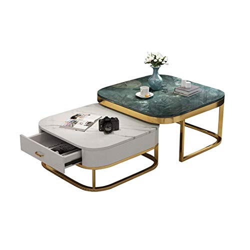 Woonkamer round salontafel Tabellen Modern Koffietafel End Table |2 Piece |met Storage Laden en Shelf |Couch Bedside Side Home Living Room |Marmer Metaal Gouden Frame Moderne woonkamer ronde tafel