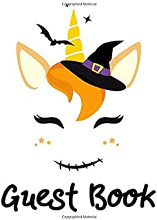 Guest book: Halloween Party Guestbook Supply Essential,8.5 x 11 Sized, 100 Pages   Ideal for Halloween Costume Party,unicorn