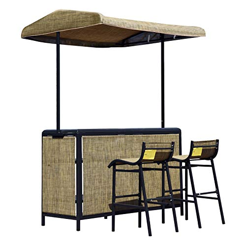 Outsunny 3 Piece Outdoor Mesh Cloth Canopy Bar Set - Table & Two Chairs