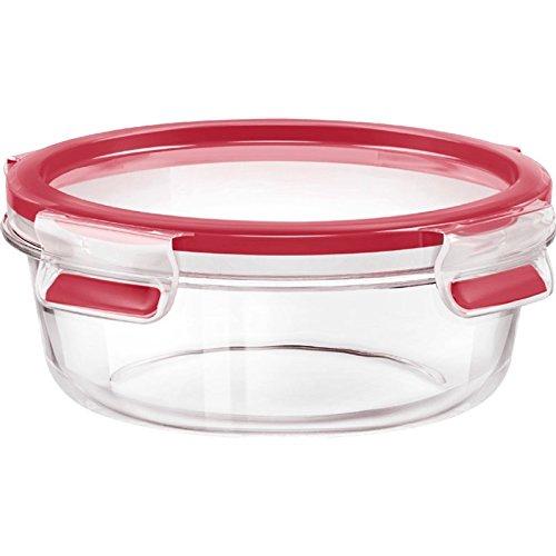 Emsa 516242 Clip & Close Runde Frischhaltedose mit Deckel, Glas, 0,6 Liter, transparent/rot