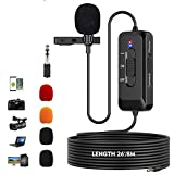 Professional Lavalier Lapel Microphone with Noise Cancelling for Interviews, Recording, Meetings, YouTube, Live Streaming, Omnidirectional Condenser Clip on Lapel Mic for Smartphones, Camera, PC
