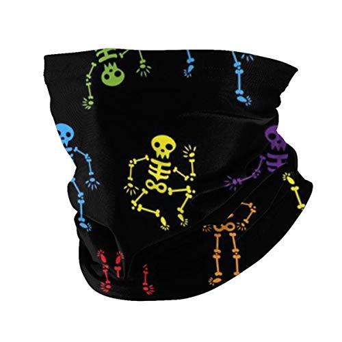 hfdff Esqueletos de baile de Halloween Cuello sin costuras Polaina Faja Bufanda de seda sin costuras Diademas para ciclismo Camping Viajes