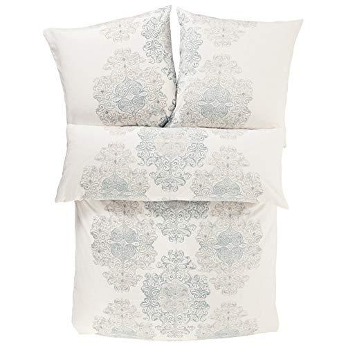 Zeitgeist Bettwäsche 155x220cm, flauschig warme Biberbettwäsche, 100% Baumwolle, weiß blau, Flanellbettwäsche, 2 teiliges Set aus Deckenbezug 155x220cm und Kissenhülle 80x80cm, Reißverschluss