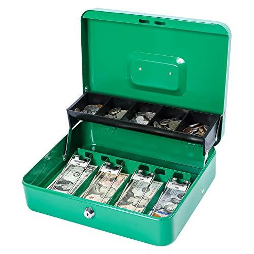 KYODOLED Locking Cash Box with Lock,Money Box with Cash Tray,Lock Safe Box with Key,Money Saving Organizer,11.81Lx 9.45Wx 3.54H Inches,Green XL Large