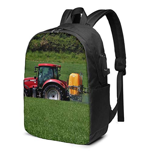 Laptop Backpack with USB Port Grass Hay Tractor Farm Lawn, Business Travel Bag, College School Computer Rucksack Bag for Men Women 17 Inch Laptop Notebook