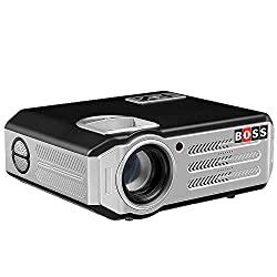 BOSS S11 Full HD 5700 Lumens Portable Projector for Home Cinema/Movies/School, Black,BOSS,S11