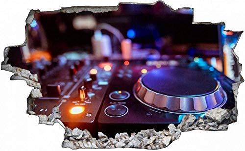 3D-Effekt Wandtattoo Aufkleber Durchbruch selbstklebendes Wandbild Wandsticker Stein Wanddurchbruch Wandaufkleber Tattoo,Musik Mischpult DJ,Größe:60x90cm