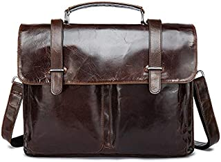 Men's One-Shoulder Bag with Head Layer Cowhide Genuine Leather Business Briefcase JAUROUXIYUJINn (Color : Brown)
