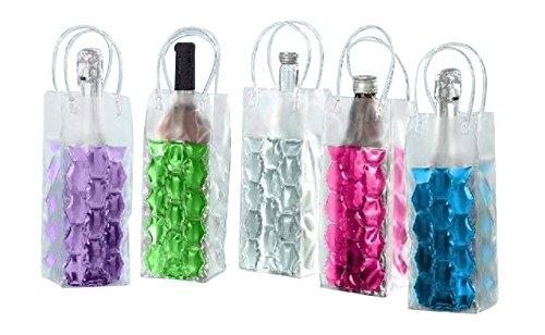 joka international GmbH 4 Flaschenkühler Tasche mit Eisgel zum einfrieren Sektkühler Weinkühler 2x pink 2x grün