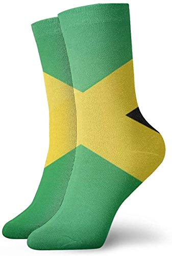 DLing Marihuana Jamaika Flagge Unisex Spaß Cool 3D-Druck Bunte Athletic Sport Neuheit Crew Tube Socken