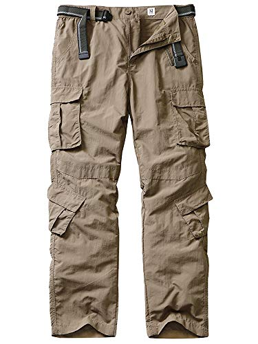 linlon Hiking Pants for Men, Outdoor Quick Dry Lightweight Fishing Pants Casual Cargo Pants with 8 Pockets,Khaki,32