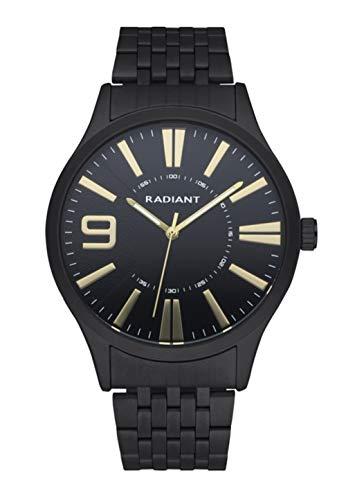 Radiant - Orologio analogico da uomo, collezione Master, orologio nero con cinturino e quadrante nero con dettagli dorati, 5 ATM, 44 mm, rif. RA565204