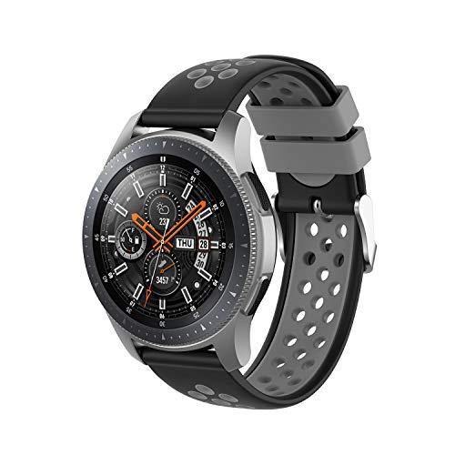 INF Pulsera Compatible con Samsung Gear S3 Frontier/Classic, Pulsera de Reloj Ajustable 147-240 mm, Negro/Gris