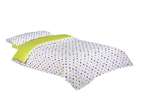 Montse Interiors Funda nórdica Estampada Estrellas de Colores (Happy, para Cama de 90x190/200 (Nórdico de 150))
