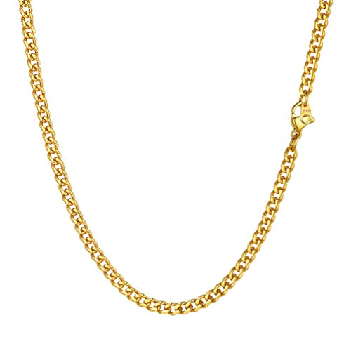 PROSTEEL Mens Gold Necklaces Curb Chain 3mm 20 inch Gold Chain Golden Cuban Necklace Rapper Chain