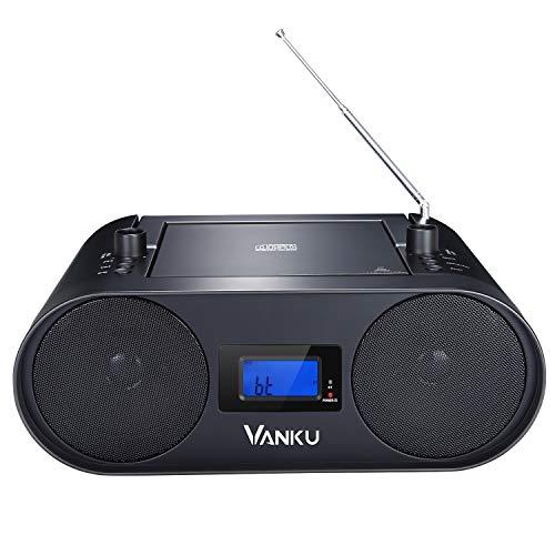 Vanku cd プレーヤー ラジオ Bluetooth FMワイド 2000mAH バッテリ内蔵 4時間連続再生 小型 USB MP3再生 語学学習用機能 18ヶ月保証