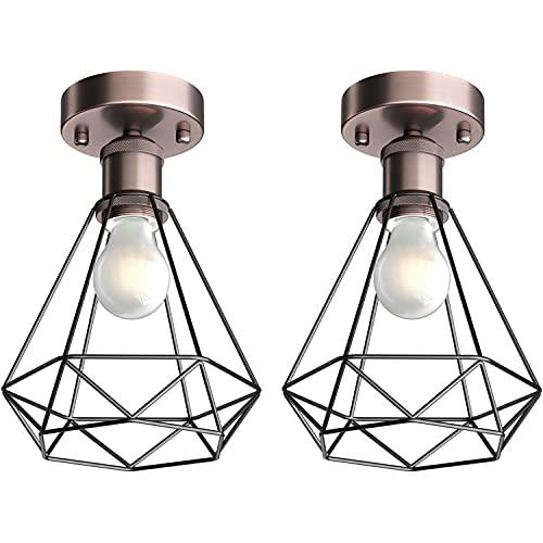 ledscom.de Vintage E27 Deckenlampe RETRA, bronze, Käfig-Schirm + LED Lampe 780lm warmweiß, 2 Stk.
