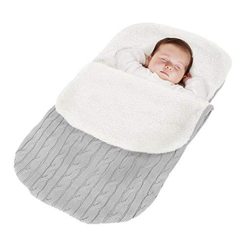 Minetom Fußsack Kinderwagen Baby Schlafsack Strickend Winter Buggy Babyschale Winterfußsack Grau 38 * 68 cm