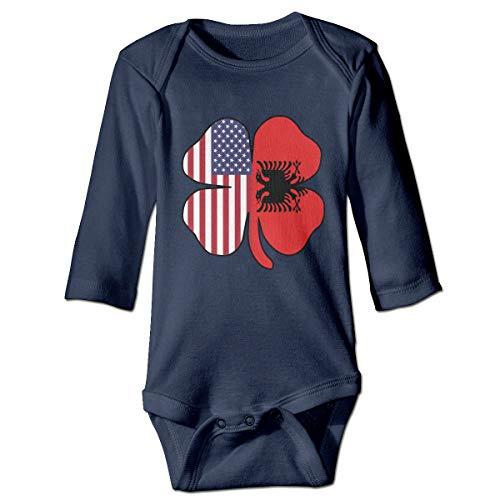 FT253D07 American Albanian Flag Shamrock Infant Baby Girls Long Sleeve Romper Bodysuit Jumpsuit Onesie Navy