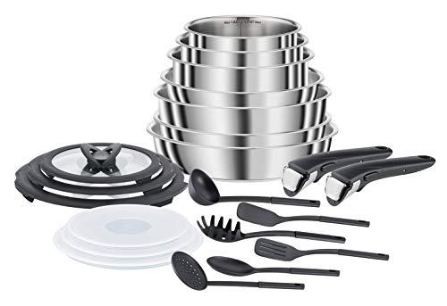 Seb Compact Inox Batterie de cuisine 10 pièces, Induction, Poêles 22/24/26 cm, Casseroles 16/18/20 cm, Sauteuse 24 cm, Couvercles 18/20 cm, 1 poignée L953SA04