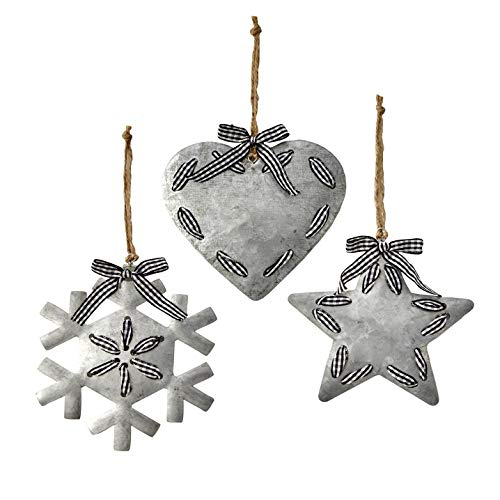 The Lakeside Collection Rustic Metal Christmas Tree Ornaments – Heart, Star, and Snowflake - Set of 3