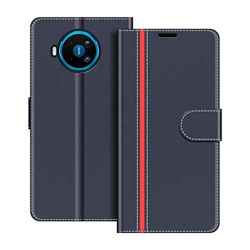 COODIO Handyhülle für Nokia 8.3 5G Handy Hülle, Nokia 8.3 5G Hülle Leder Handytasche für Nokia 8.3 5G Klapphülle Tasche, Dunkel Blau/Rot