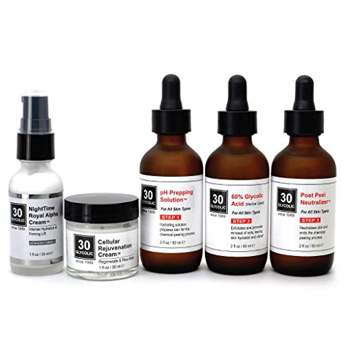 60% Glycolic Peel System for Acne Scar & Skin Discoloration - FREE $65 Skin Repair Creams...