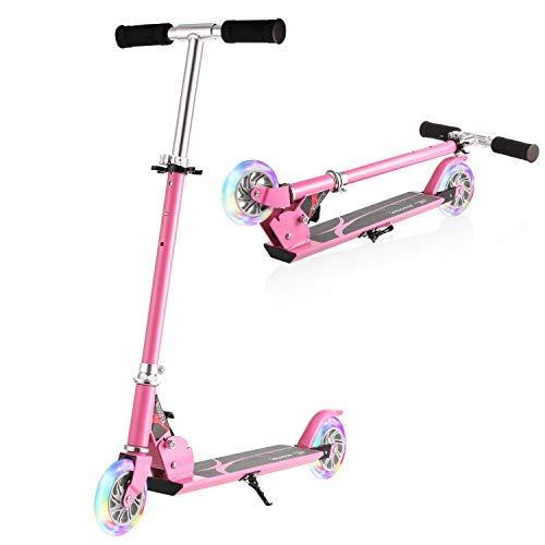 WeSkate Tretroller Kinder 3-12 Jahre alt Faltbar Kinderscooter Cityroller mit 2 Leuchträder, Tragbar Roller Roller für Kinder Jüngere Mädchen bis 50KG (Rosen)