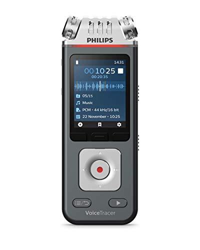 Philips VoiceTracer Audiorecorder Diktiergerät Musik Aufnahmegerät DVT6110 für Musik, Vorträge und Interviews, 3 High-Fidelity-Mikrofone, 8GB, Smartphone-App (Android/iOS)