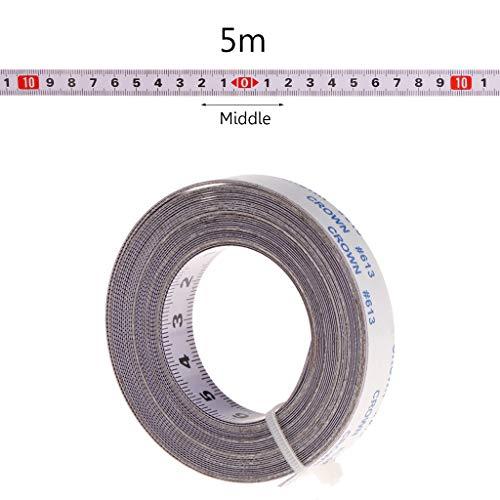 Cuigu Scale Maßband Gehrungssäge Maßband 1M / 2M / 3M / 5M Rollenband Selbstklebendes Maßband Rückenlehne Metrisch Stahl Gehrungsband Scharnierband (5M, Mitte)