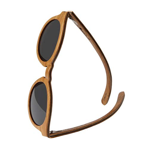 WOLA gafas de sol madera - SELVA lentes mujer, gafas de sol polarizadas en skateboard wood, gafas redondas UV400 beige